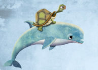 Turtle and Dolphin by Luella Wright