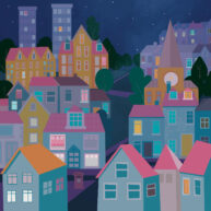 Cityscape Night Houses by Luella Wright