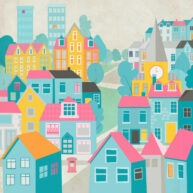 Cityscape Houses by Luella Wright
