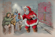 Santa in the street by Bill Garland