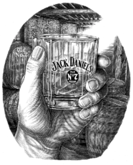 Jack Daniels pen and ink illustration by Dave Hopkins