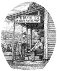 Jack Daniels Distillery pen and ink illustration by Dave Hopkins