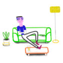 Green Couch Man by Oxo